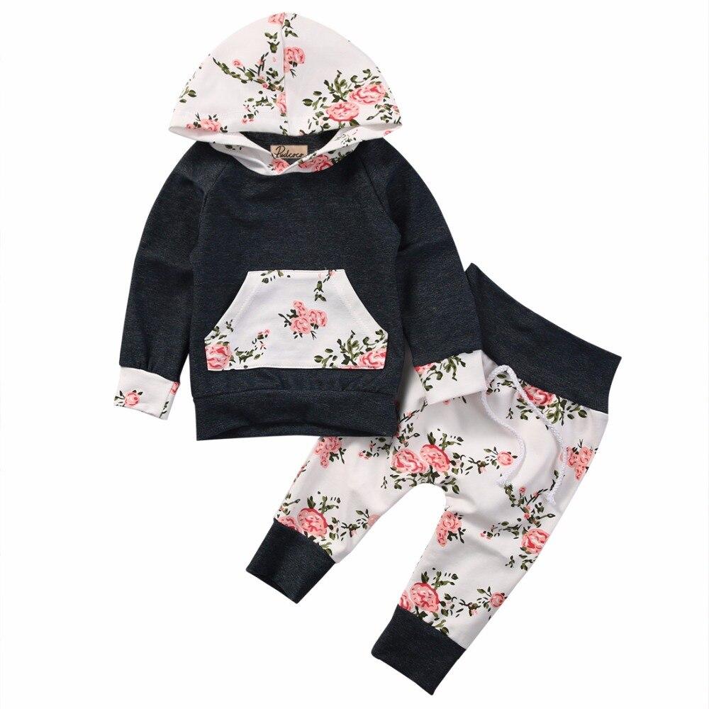 2 pcs costume!!! nouveau-né Bébé Garçon Fille Vêtements À Capuchon Tops +  Pantalon Long floral Tenues Ensemble 018d62045e0