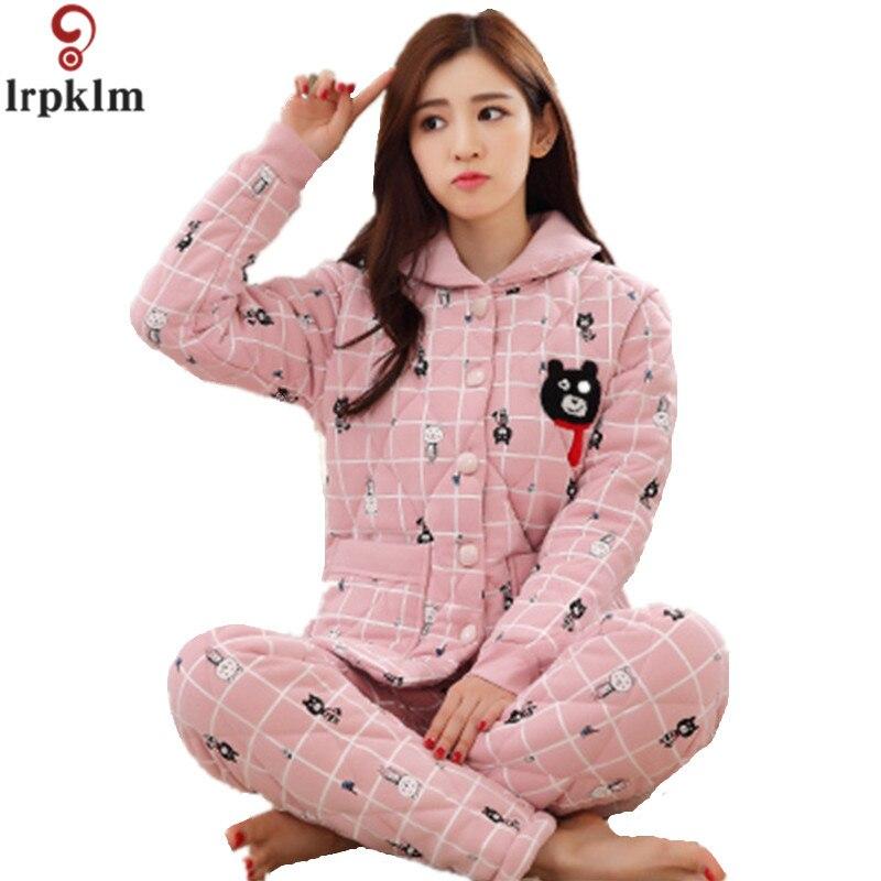 2017 Winter Pajama Sets For Women Cotton Print Thick Warm Pajamas Girls Long Pants Sleepwear Home