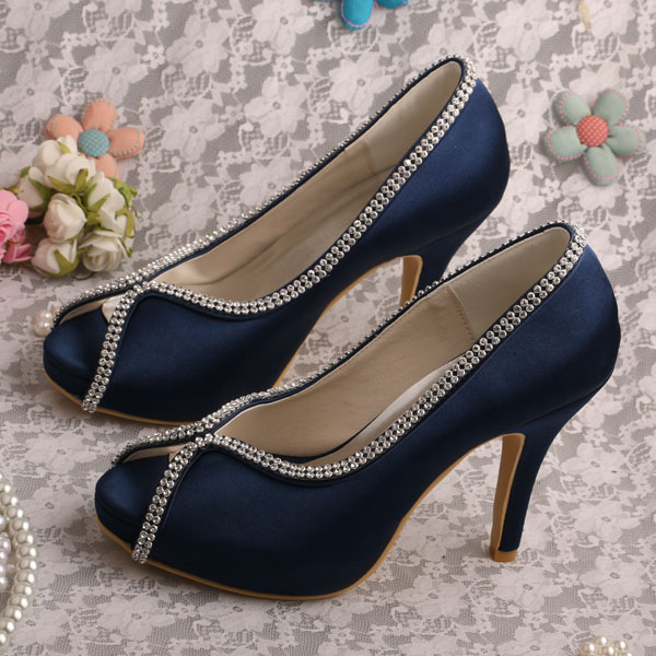Fashionable Navy Shoes Platform Heels for Bridal Wedding Heels Pump Open Toe
