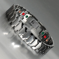 Wollet Jewelry Mens 19cm Germanium Magnet Tungsten Bracelet Silver Plated Health Bio Magmetic Bracelet Bangle For Men