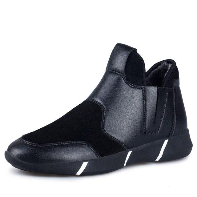 Хорошее качество мужские скольжения по снегу сапоги с плюшем внутри фотомодель зима ноги высокие верхние ботинки имеют мех внутренний человек теплый загрузки