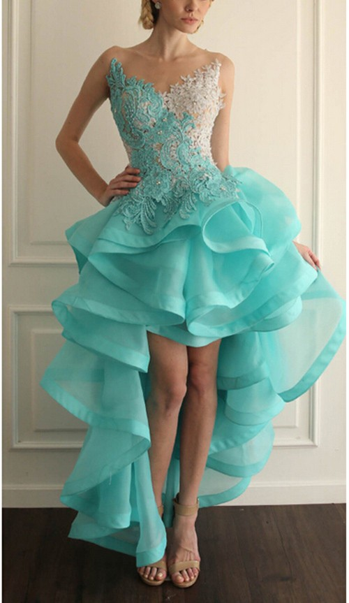 2018 Gorgeous Beaded High Low green Lace Prom Sheer Back Ruffles Organza Short Front Long Back Party Gown bridesmaid dresses