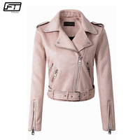 Fitaylor Spring Autumn Biker Pink Leather Jacket Female 2017 New Motorcycle Suede Jacket For Women Slim
