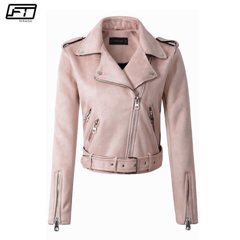 Fitaylor Spring Autumn Biker Pink   Leather   Jacket Female 2018 New Motorcycle   Suede   Jacket For Women Slim Short Moto Coat Mujer