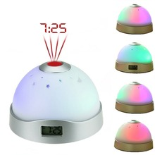 RGB Night Light Sky Star Projection Lamp LED Bedroom Time Display Projection Lamp Baby Gift Child Table Lamp Magic Clock Light