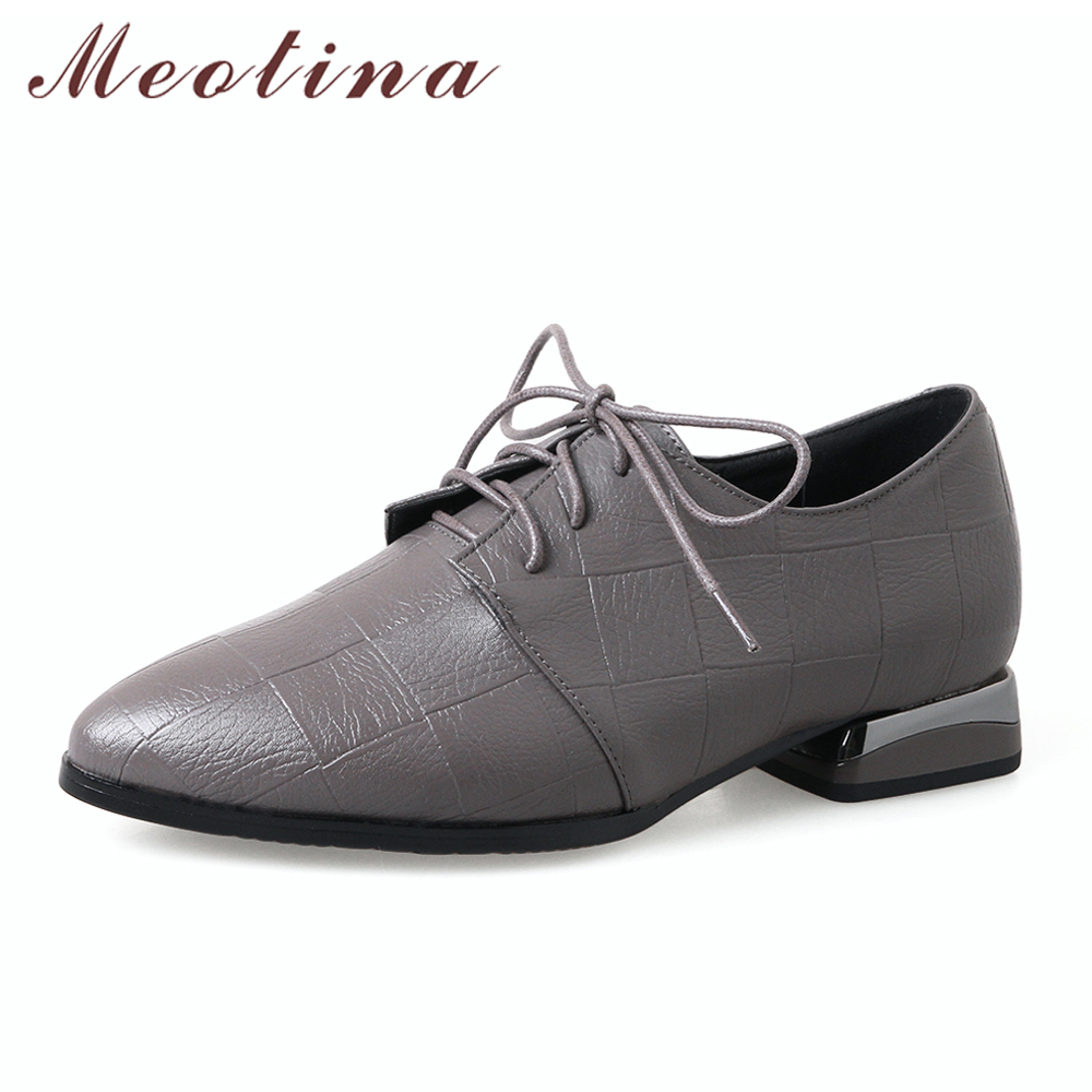 Meotina Women Derby Shoes Pointed Toe Female Flats Lace Up Ladies Shoes British Style Footwear Red Black 2018 Spring Size 33-43 цена 2017