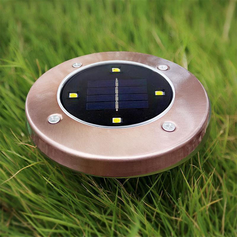LumiParty Waterproof Brass Colour 4 LED Solar-powered Buried Light Under Ground Lamp Outdoor Path Way Garden Decoration