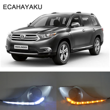 ECAHAYAKU 1Set DRL For Toyota Highlander 2012 2013 Daytime Running Lights fog lamp cover with yellow trun signal driving light