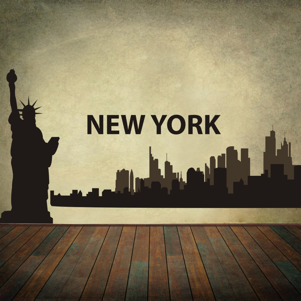 new york city skyline silhouette the big apple wall stickers vinyl wall art decal room. Black Bedroom Furniture Sets. Home Design Ideas