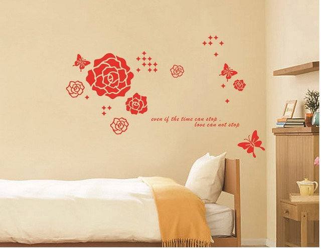 flower butterfly home decoration wall sticker new 2014 bathroom ...