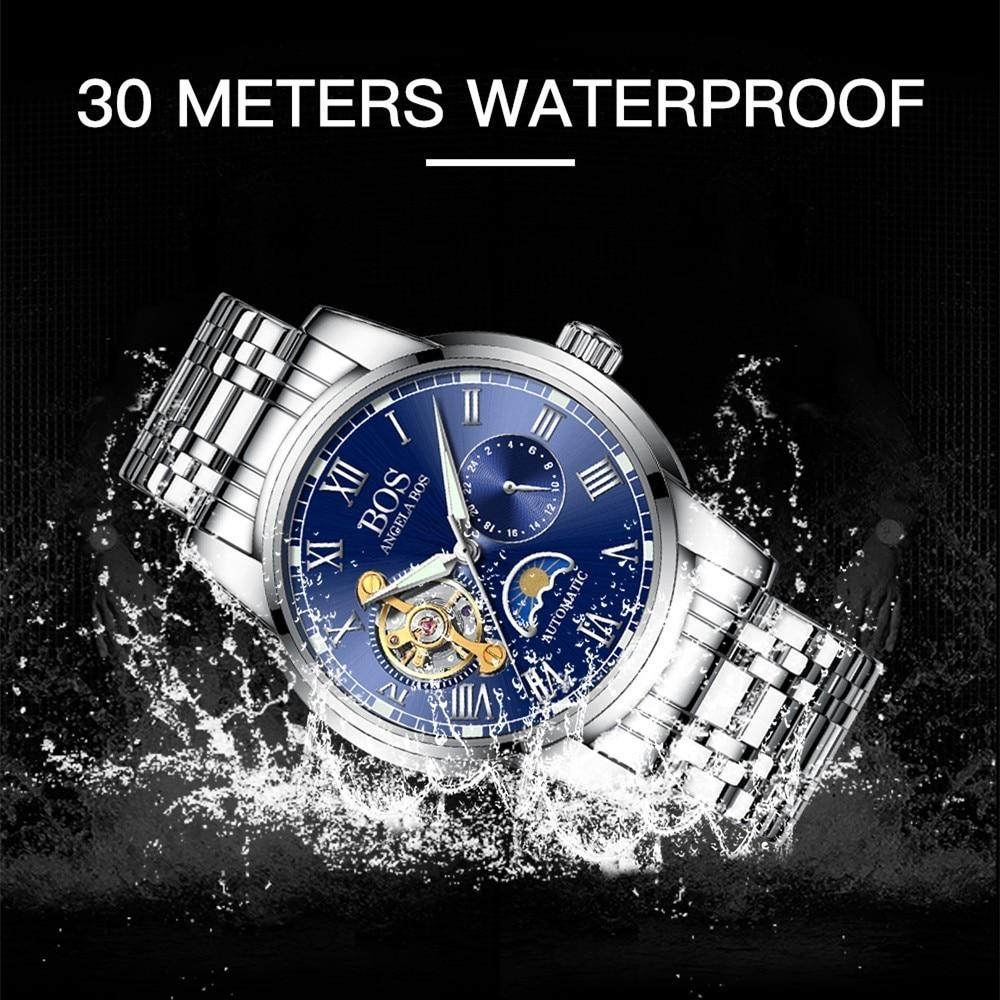 ANGELA BOS Czarny Mechaniczny Automatyczny Zegarek Mężczyźni Faza - Męskie zegarki - Zdjęcie 6