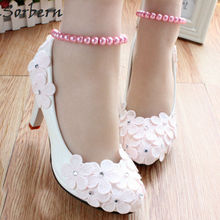 Sorbern Light Pink Cute Flowers Wedding Shoes Women High Heels 3Cm/5Cm/8Cm Bridal Shoe Pumps Heeled Beading Ankle Straps New(China)