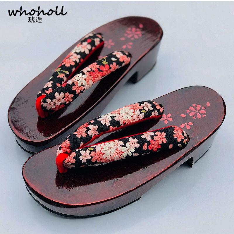 WHOHOLL النساء الصنادل زحافات 2018 الصيف إسفين الصنادل تأثيري أحذية اليابانية جيتا قباقيب النعال الخشبية الحمراء WMGT-578