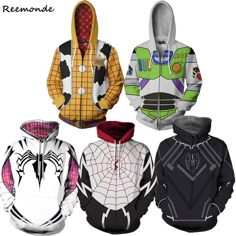 Toy Story Cosplay Costume Gwen Stacy Superman Hoodies Captain America Sweatshirt 3D Printed Zipper Sport Iron Man Coat Men Women