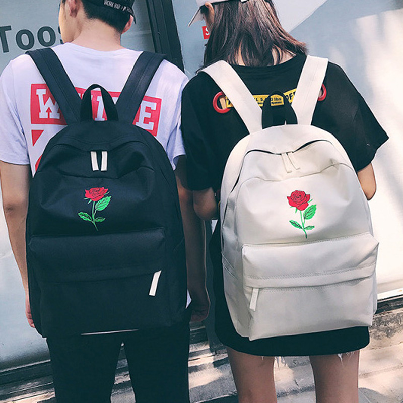 Finger Heart Backpack Cute Women Men Canvas Rose Embroidery Backpacks for Teenagers Women's Travel Bags Rucksack School Bag New newview ceramic hair curler corrugated iron professional hair straightening flat iron styling tools straightener