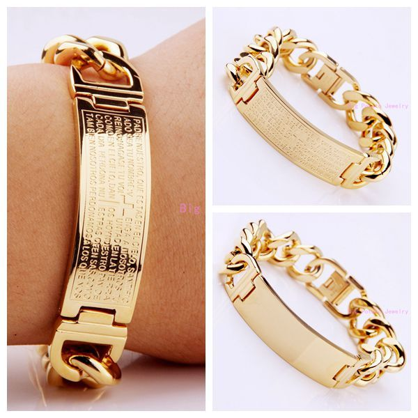 New High Quality 16mm 316L Stainless Steel Bible Cross/Smooth ID Bracelets Bling Mens Womens Jewelry Gold Curb Cuban Bangles