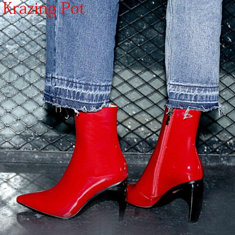 2019 New Arrival Genuine Leather Streetwear Pointed Toe Runway High Heels Zipper Sweet Wedding Office Lady