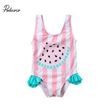 Летняя одежда для купания для маленьких девочек, детская полосатая одежда, Цельный купальник с арбузом для малышей, детская одежда для девочек, костюм принцессы