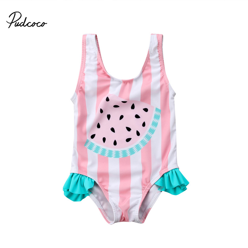 Baby Girls Summer Swimwear Kids Clothes Striped Watermelon Toddler One Piece Swimwear Children Girls Clothing Princess Costume