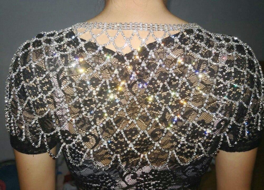 big size Bridal Rhinestone crystal necklace Shoulder chain shawl harness Necklace luxury Wedding Party Body Jewelry