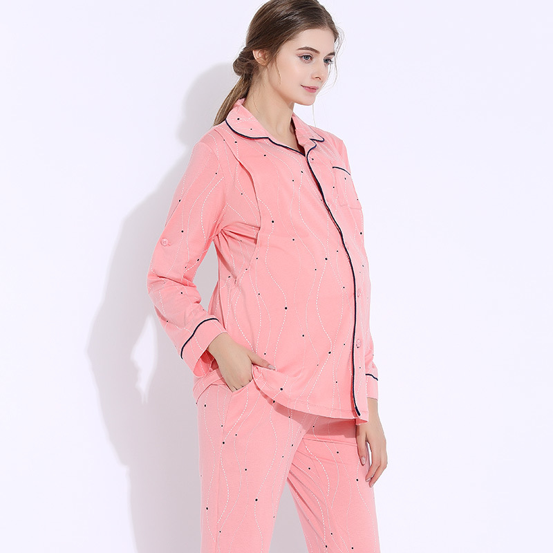 Pregnant Women Pajamas Maternity Clothes Breastfeeding Pregnancy Winter 2 pcs/set Long Sleeve Flannel Warm Nursing