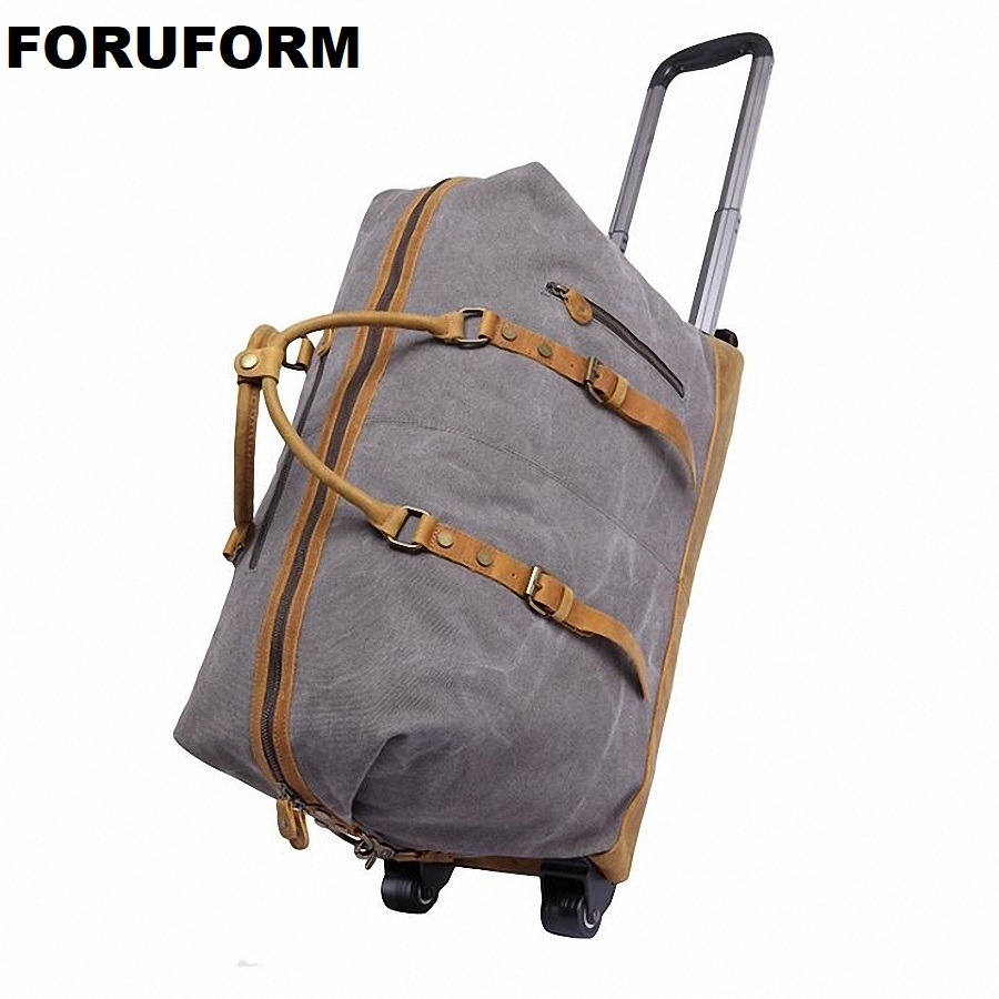 где купить New High-grade Lightweight Wheeled Seater Pull Rod Travel Luggage Boarding Box Draw-bar Unisex Travel Duffle Luggage Bag LI-2036 дешево