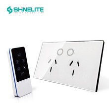 Shinelite Remoted Type AU Touch Wall Double Sockets 15A Wireless Power Socket with touch ON/OFF Button Glass Panel