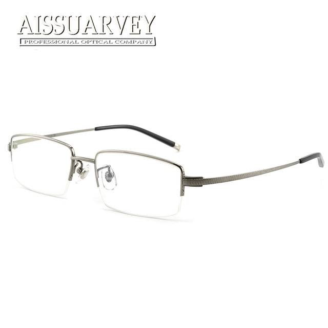 5d0a61068a81d Aissuarvey Titanium Men Eyewear Optical Top Quality Half-rim Eyeglasses  Frame Flexible Prescription Simple Business