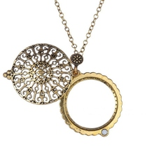 Antique Design Hollow Carving Carved Flower Magnifying Glass Pendant Link Chain Necklace Fashion Women Girls Jewelry Gift