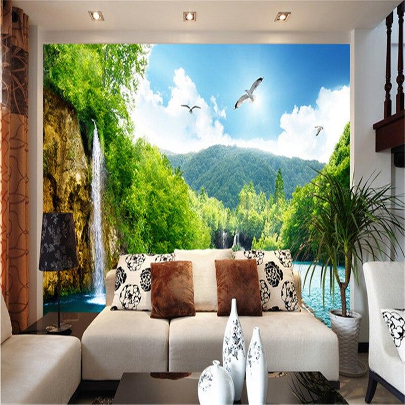 Beibehang Pemandangan Alam Indah Air Terjun Jembatan 3d Gambar Mural