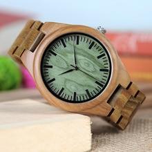 BOBO BIRD WG19 Men Luxury Brand Green Sandal Wood Watches Full Wooden Quartz Watch Handmade