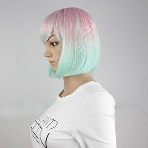 Image 3 - Yiyaobess 스트레이트 라이트 핑크 그린 ombre 짧은 밥 가발 bangs 합성 머리 코스프레 의상 여성 가발 파티 25cm