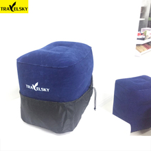 Travelsky Newest Travel Pillow For Airplane Car Large Valve Inflatable Pillow 2 Colors PVC Flocking Leg And Foot Rest Pillows