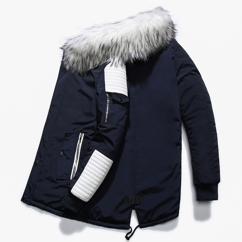 Le Fourrure Chaud De Manteau À Hommes Vers Nouveaux Et Épais Grand rouge Veste Noir bleu Automne Capuchon Hiver Coton Col Casual Bas xZqTvCn