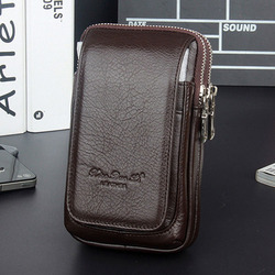 الرجال الجلود فاني الخصر حقيبة خلية/الهاتف المحمول محفظة نسائية للعملات المعدنية جيب حزام بوم الحقيبة حزمة حقيبة الورك خمر جودة عالية