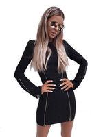 2017 moda Bayan Uzun Kollu Kazak elbise seksi siyah fermuar dekorasyon kılıf Mini Elbise
