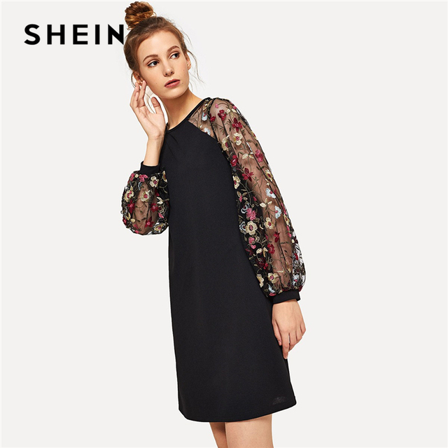 a1ea632a1db28 SHEIN Weekend Casual Modern Lady Black Flower Embroidered Mesh Contrast  Long Sleeve Short Dress Women Autumn