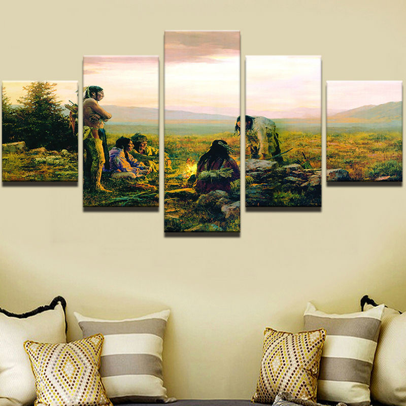 Modular Canvas Wall Art Frame Picture 5 Panel Native American Rhaliexpress: Native American Paintings For Living Room At Home Improvement Advice