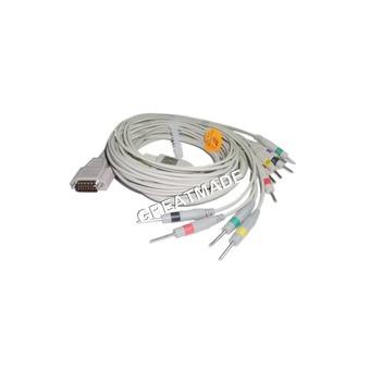Compatible with Nihon Kohden ECG-9620, ECG-9010,ECG-9020, ECG-9022,ECG-9110,ECG-9130 10-Lead EKG Cable,IEC,DIN3.0. фото