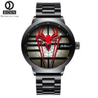 BIDEN 2019 aranha Dos Homens de Quartzo Homens Relógio Criatividade Relógios Masculino de Aço Inoxidável Resistente À Água relógio de Pulso Relogio masculino