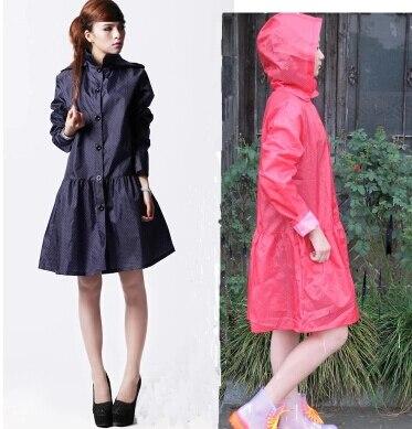 Online Shop Waterproof cute black/ blue women's rain coat polka ...