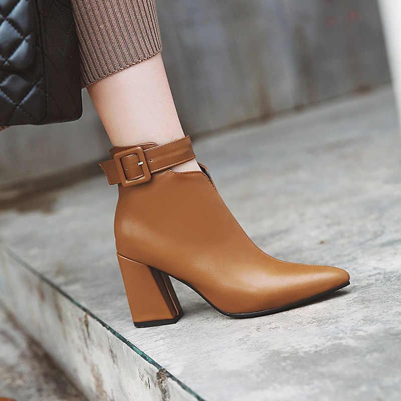 WETKISS ayak bileği kayışı yüksek topuklu Kadın Çizmeler Sivri Burun Ayakkabı Zip Kadın Çizme PU ayakkabıları Kadın Kış 2019 Yeni Artı Boyutu 34-46