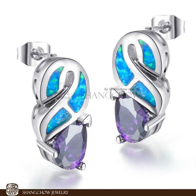 New! Stunning Fashion Jewelry Blue fire Opal with Amethyst 925 Sterling Silver Earrings EP0011