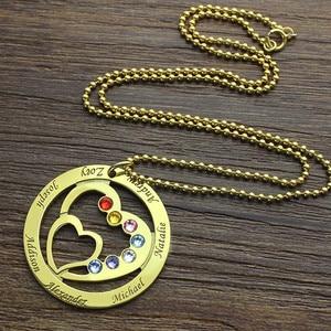 Image 4 - Strollgirl 925 ayar gümüş özel kolye anneler kalp kalp kolye ile 7 çocuklar isimleri ve Birthstones gümüş takı