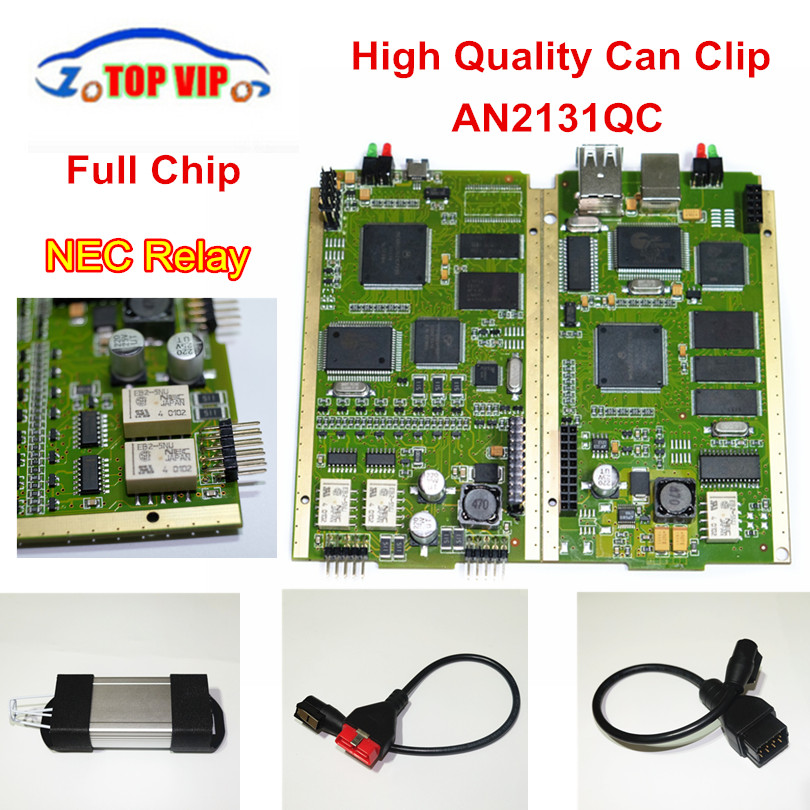 DHL Free Newest V168 Can Clip Gold PCB Board CYPRESS AN2131QC Auto Car Diagnostic-Tool OBD2 Scanner With Full Chip for Re-na-lut