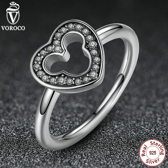 VOROCO 2016 New Collection 925 Sterling Silver  Clear CZ Women Heart Finger Ring Compatible With Original VRC Jewelry P7164
