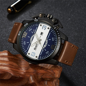 Image 3 - Oulm New Design Mens Watches Luxury Brand Casual Leather Wristwatch Big Size Sport Male Quartz Watch relogio masculino