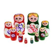 5pcs/set Wood Russian Dolls Set Wooden Nesting Babushka Matryoshka Hand Paint Dolls Baby Toys Calssical Craft Gift for Girl Baby
