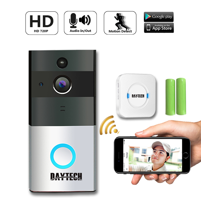 DAYTECH Wireless Doorbell Ring Chime Door Bell Video Camera WiFi IP 720P IR Night Vision Two Way Audio  цена 2017