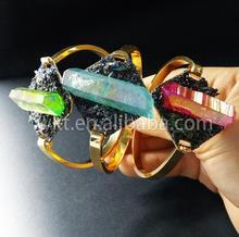 WT B237 Wholesale charm handmark bangles natural crystal quartz pyrite hand make unique 24k gold trim